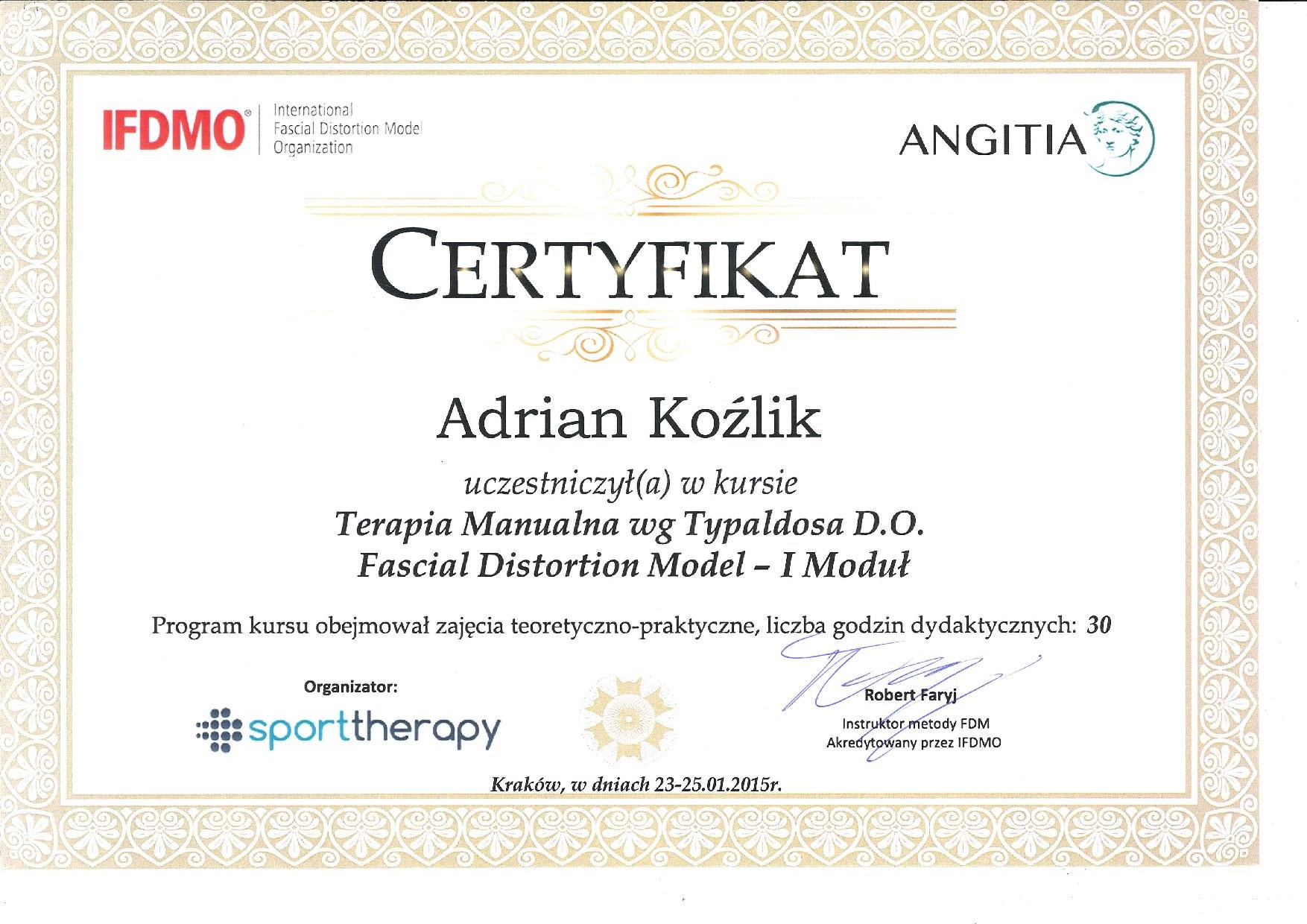 Terapia manualna wg Typaldosa - Fascial Distortion Model I modul